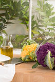Vertical Image with Purple and Golden Yellow Cauliflower stock image