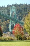 St. John`s Bridge in Autumn near Portland, Oregon. This is a vertical image of St. John`s Bridge near Portland, Oregon in Autumn stock image