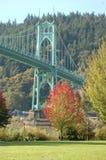 St. John`s Bridge in Autumn near Portland, Oregon. This is a vertical image of St. John`s Bridge near Portland, Oregon in Autumn Stock Image