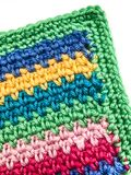 Vertical Image of Striped, Crocheted Blanket Stock Photo