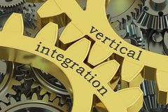 Vertical integration concept on the gearwheels, 3D rendering Stock Photo