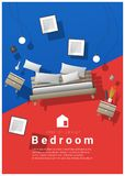 Vertical Interior banner sale with bedroom furniture hovering on colorful background. Vector , illustration Stock Image