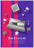 Vertical Interior banner sale with bedroom furniture hovering on colorful background. Vector , illustration royalty free illustration