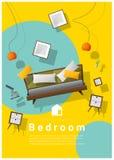 Vertical interior banner sale with bedroom furniture hovering on colorful background. Vector , illustration stock illustration