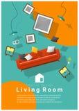 Vertical Interior banner sale with living room furniture hovering on colorful background. Vector , illustration vector illustration