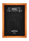 Vertical isolated menu chalkboard for cafes and restaurants. Realistic wooden frame. Vector Royalty Free Stock Photo