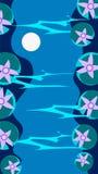 Vertical Krajobrazowa ilustracja, Rzeczny odbicie z liśćmi i Wodny Lillies, ilustracji