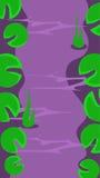 Vertical Krajobrazowa ilustracja, rzeka z liśćmi ilustracja wektor