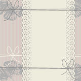 Vertical lace frame with bows, butterflies and lines. 
