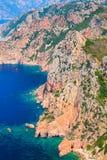 Vertical landscape of Corsica island. Capo Rosso Stock Photo
