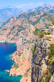 Vertical landscape of Corsica, rocks and sea Royalty Free Stock Photo
