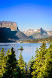 Vertical landscape view of mountain range in Glacier NP, USA Stock Images