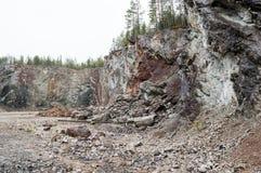 Vertical layered limestone Stock Image