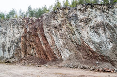 Vertical layered limestone Stock Photos