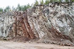 Vertical layered limestone Stock Photos