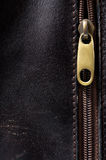 Vertical leather background and  fastener Stock Photography