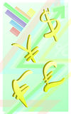 Vertical light green background of currency symbols and graphs Royalty Free Stock Photography