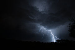 Vertical Lightning Strike Royalty Free Stock Photo