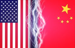Vertical lightnings between flags of USA and China. Concept of crisis between Washington and Beijing stock photo