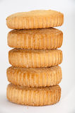 Vertical lined cookies on a white background Stock Images