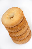 Vertical lined cookies on a white background Stock Photography