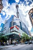 Vertical low-angle street view in Sydney CBD with Westfield shopping centre and Sydney tower eye and people in Sydney Australia. 23th December 2018, Sydney NSW stock photos