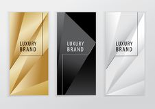 Vertical luxury gold black silver banners. Triangle abstract vector background.  Stock Photography