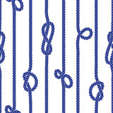 Vertical marine rope with knots seamless vector pattern Royalty Free Stock Images