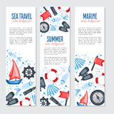 Vertical marine vector banner, cartoon illustration, Red flag, steering wheel, compass, ship, seashell, fish, binoculars. Spyglass isolated on white background Stock Photo