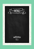 Vertical menu chalkboard for cafes and restaurants. Royalty Free Stock Photo