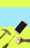 Vertical mobile phone repair background or template for smartphone fixing company`s advertisement in print. Blank empty copy space for text and content stock image