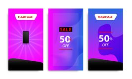 Vertical modern fluid banner template with gradient blue, pink, purple twilight color for sale promotion. Vertical modern wave fluid background template with stock illustration