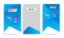 Vertical modern fluid banner template with gradient blue color for sale promotion. Vertical modern wave fluid background template with gradient blue for sale vector illustration