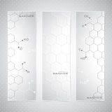 Vertical molecule Set of Banners on gray Stock Photo