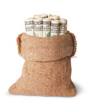 Vertical money in the bag Royalty Free Stock Photo