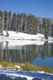 Vertical Mountain lake. Mountain lake on the Grand Mesa, Colorado after a late September snowfall Royalty Free Stock Photo