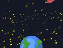 Cartoon space galaxy with stars and planet animation royalty free illustration