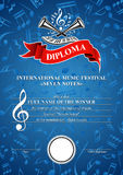 Vertical musical diploma Stock Photo