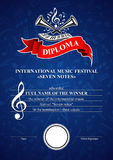 Vertical musical diploma Stock Photography