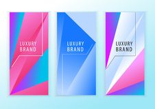 Vertical neon blue pink banners. Triangle design elements. Abstract background.  Stock Illustration