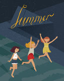 Vertical night illustration with three young girls, running down the hill. Stock Photo