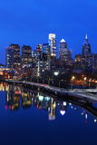 Vertical night scene of the city of Philadelphia skyline Stock Photos