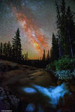 Vertical night sky above the Provo River with the Milky Way Royalty Free Stock Photos