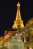 Vertical night view of Eiffel Tower at Paris Casino, Las Vegas, NV Royalty Free Stock Images