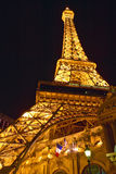 Vertical night view of Eiffel Tower at Paris Casino, Las Vegas, NV Stock Photos