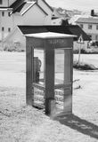 Vertical Norway telephone booth with light leak backdrop Stock Photos