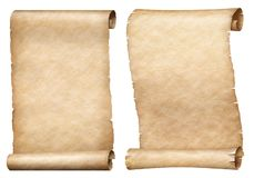 Paper or parchment scrolls set isolated on white stock image