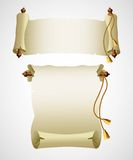 Vertical old scroll paper. Vector illustration Stock Photo