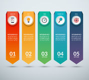 Vertical options banner for infographics. Arrow design template with 5 options, steps, parts. Vector background. Can be used for web design, vertical chart or Stock Image