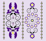 Vertical ornament with iris. And curl Royalty Free Stock Image